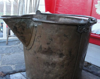 Primitive Hammered Brass Spouted Farm Bucket