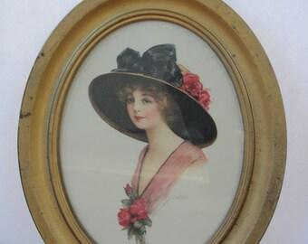 Antique original 1912 oval framed art nouveau lithograph print- J. Knowles hare