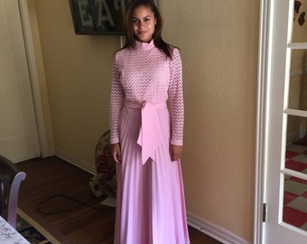 Vintage Pink Gown Small Pleated Skirt / Mock Turtleneck 70s 60s Fabulous Gown