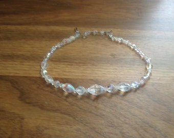 vintage necklace choker aurora borealis glass beads