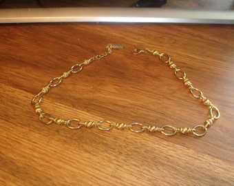 vintage necklace goldtone chain open link napier