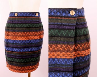 Vintage 80s 90s - Woven Tribal Flannel Print - High Waist - Wiggle - Short Wrap Button Mini Skirt - Grunge