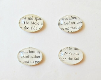 The Wind In The Willows Magnet Set of Four. Glass Book Page Love Toad Mole Ratty Badger Kenneth Grahame Woodland Animals Handmade Literature