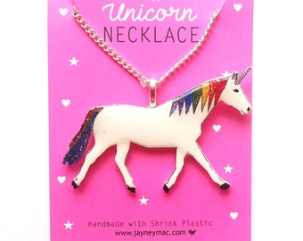 Unicorn Necklace - Shrink Plastic Glitter Rainbow Unicorn Necklace Chain - Blue or Silver Chain