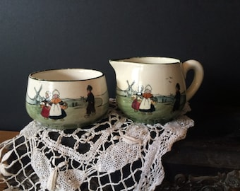 Dutch Scene, Zellor Zeller Keramik Baden Earthen ware made in Austria, Sugar Bowl and Creamer