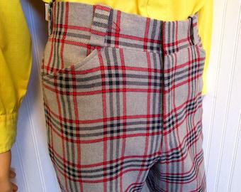 "70s 33"" x 27"" Nash Plaid Wool Mens Flares Bell Bottom Cuffed PANTS Disco Light Gray Red Windowpane Check"