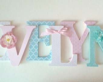 Wooden  letters for nursery in pink,white,aqua and turquoise