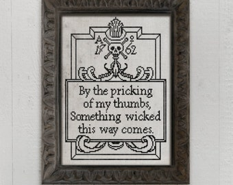 PDF Something Wicked This Way Comes Halloween cross stitch pattern by Dark Crosses at thecottageneedle.com wall art embroidery