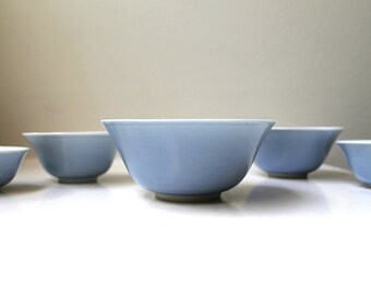 Vintage Modern Blue Porcelain Bowls Japan Dipping / Sauce Nesting Bowls Set of 5 Handmade Signed