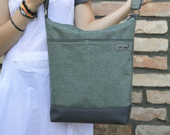 Vegan canvas diaper bag, Zippered Tote bag, messenger bag, green nappy bag, handmade gift for college students, birthday gift