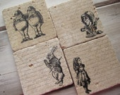 Natural stone coaster. Alice in Wonderland Coasters.  Set of Four Coasters. Gift.