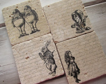 Natural stone coaster. Alice in Wonderland Coasters.  Mother's Day Gift. Rustic Decor.  Set of Four Coasters. Gift.
