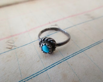 child's vintage sterling silver ring-turquoise, size 1
