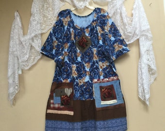 Upcycled Plus size Tunic, Upcycled Clothing , Shabby Chic Blue Roses and appliqué with big pockets