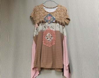 Upcycled Pink Shabby Chic French Country Tunic , Art to wear Vintage Linens and Appliqué Roses Crochet Doilies