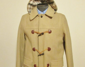 Vintage ST. MICHEAL Mens Wool Duffle Coat, Hooded Duffle Coat, Toggle Coat, Winter Coat, Parka, Size 40, Tan with Plaid Lining, Canadian