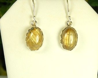 Gold Rutile Earrings, Golden Crystals, Clear Quartz, Sterling Silver, Rutilated Quartz, Natural Rutile, Golden Rutile, Gold Rutile Dangles