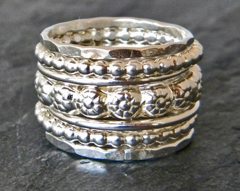 Silver Stacking Rings - Sterling Silver Rings - Floral Stacking Ring - Flower Band Rings- Big Silver Rings - Boho Rings - Womens Gift