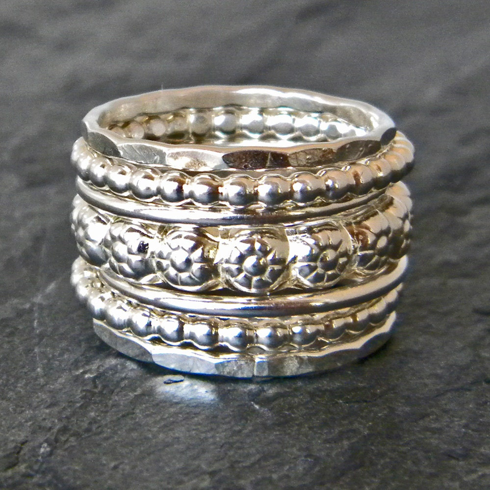 sterling silver stacking ring silver stackable ring set