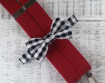Boy Suspender Bow Tie Set - Black & White Houndstooth Bow Tie - Red Suspenders - Wedding Accessory - Alabama Football