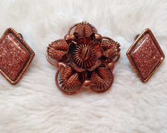 Vintage Copper Brooch and Earring Set