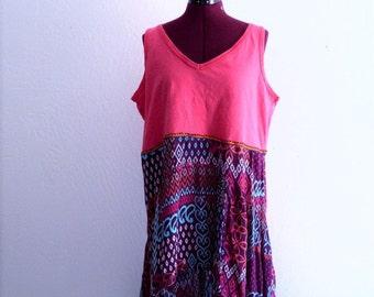 Tribal print High Low Tunic. Beach Dress
