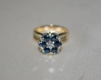 Art Deco Blue Sapphire Diamond Engagement Ring. Flower Shape Cluster in 14k Yellow Gold Ring Circa 1940s