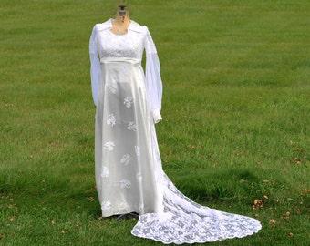 Wedding Dress -- 1975 --  Handmade --  Bridal Gown