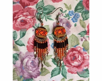 Native American Orange Earrings
