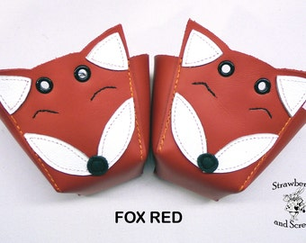 Foxes Roller Derby skate toe guards in natural leather