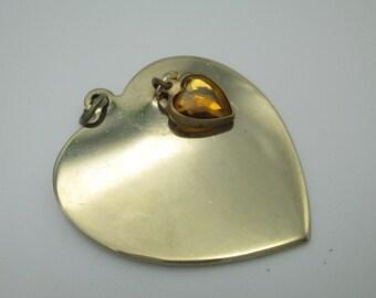 Vintage Heart Pendant with Topaz Heart- Goldtone Metal- November Birthday- Anniversary