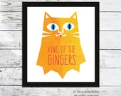 King Of The Gingers cat print  - giclee Cat print - Cat illustration - Cat art - Home decor - Cat gifts