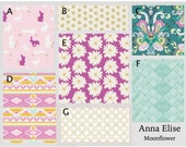 Crib Bedding- Design Your Own Crib Set- Anna Elise- Moonflower- Fuschia, Teal, Metallic Gold