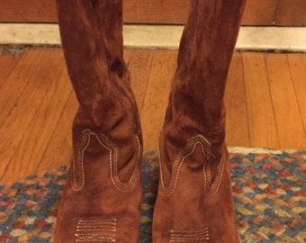 Vintage Suede Cowboy Boot Riust Color