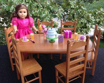 American Girl Doll: Furniture, table 6 chairs stained oak finish