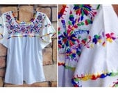 70s Gypsy Prism Embroidered Mexican Top