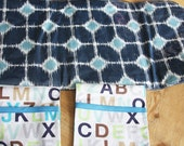 Diaper Changing Pad - travel clutch - Navy and Aqua Squares