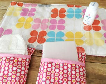 Diaper Changing Pad - Diapering on the Go - Pink Retro Flowers