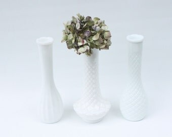 Vintage Milk Glass Vases Set of 3