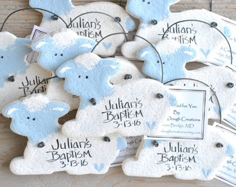Personalized Baptism Favors Lamb Salt Dough Ornaments Pink or Blue Set of 10