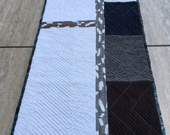 Quilted Table Runner, Nautical Fog
