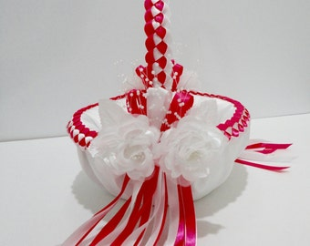 Wedding Flower Girl Basket, Hot Pink and White or Custom Made to your Colors  with Flowers and Pearls