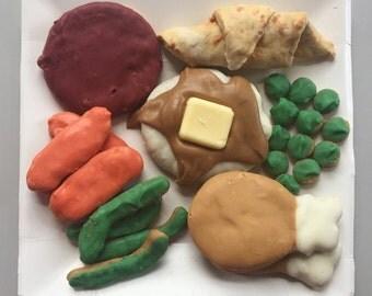 Turkey Dinner for Dogs - Thanksgiving Dog Treats - Fall - Autumn - Peanut Butter Gourmet Snack Box - Doggy Dinner - Gift - TV dinner