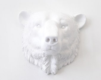 Faux Taxidermy - White Polar Bear Wall Mount - Arctic polar bear Faux Taxidermy PBE01