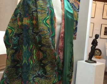 Horse Rises From the Earth and Merges With the Wind   - Silky faille shawl -    from original batik -
