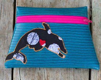 Dolphin Totem Turquoise Vinyl Pouch