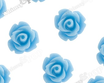 Light Blue Rose Cabochons, Flower Cabochons, Flower Cabs, 10mm Rose Cabochons, Flat Back Roses, 10mm x 6mm (R1-059)