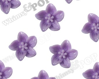 Lavender Purple Lily Flowers, Flower Cabochons, Flower Cabs, Lily Cabochon, 13mm x 5mm (R2-092)