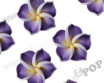 Purple Plumeria Flower Beads, Fimo Clay Plumeria Beads, Drilled Flowers, 15mm Flower Beads, Hawaiian Flower Beads, 1mm Hole (R9-042)