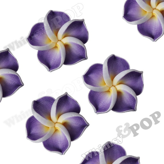 Purple Plumeria Flower Beads Fimo Clay Drilled Flowers 15mm Hawaiian 1mm Hole R9 042 From Whimsyandpop On